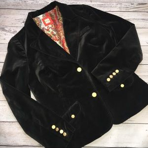 Washable Black Velvet Blazer w Gold Old Navy L