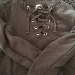 Olive green L.A Hearts crop sweatshirt from Pacsun