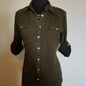 Rich Green Button Down Top