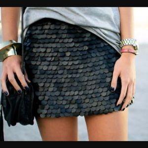 Zara Black Leather Skirt