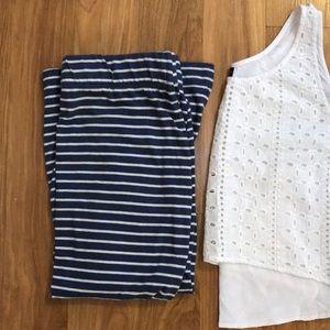 NWOT Anthropologie Nautical Striped Midi Skirt