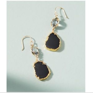 NWT Anthropologie Black Reflection Drop Earrings