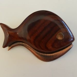 Vintage Carved Wooden Fish Brooch