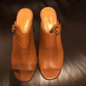 Authentic Coach high heel mules 8.5B, British Tan