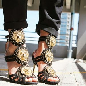 Jeffrey Campbell covacha gold lion head heels