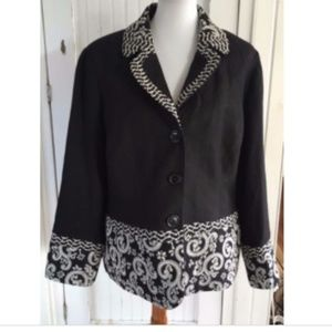 Coldwater Creek Black Blazer Jacket Jacquard Trim