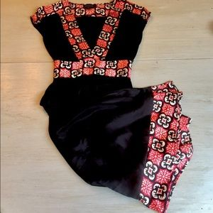 BEBE Silk Cherry Red and Black Accent Dress