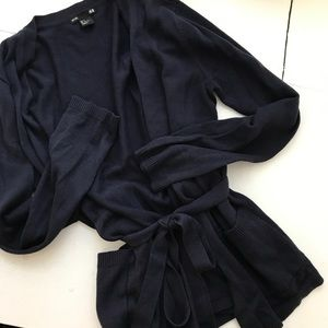H&M Navy Belted Cardigan