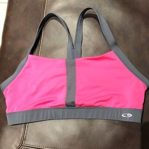 Hot Pink and Gray Sports Bra