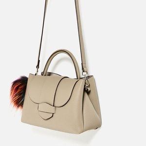 ZARA Mini Pompom City Bag