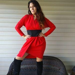 80s cinched waist dress