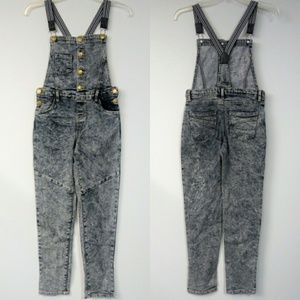 Girls High Waist Size 12 Acid Wash Overall Jeans