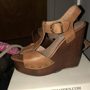 Steve Madden Reavel Tan Leather Platform Sandals