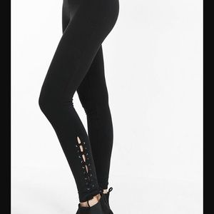 Side lace-up stretch leggings