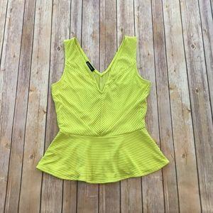 Bright Yellow Sleeveless Peplum Top