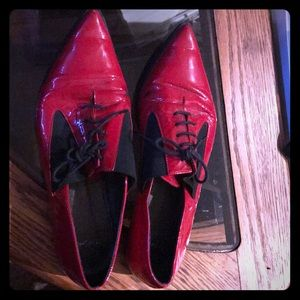 Cherry red pointy toe Topshop flats - size 7.5