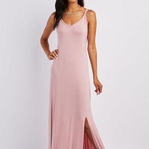 Dresses & Skirts - Blush Pink V-Neck Slit Maxi Dress