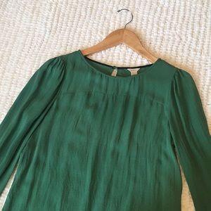 J. Crew Green Silk Shirt