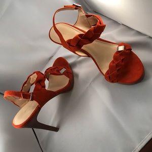 [Calvin Klein] orange suede heels gorgeous