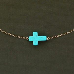 Jewelry - Sideways Horizontal Dainty Cross Necklace