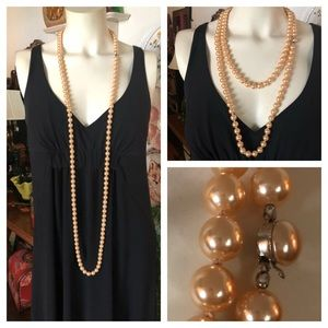 Mid-Century Long Faux Champagne Pearl Necklace