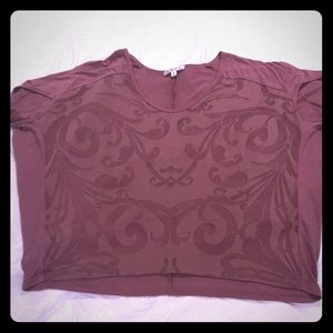 CAbi mauve tee with sheer pattern on front
