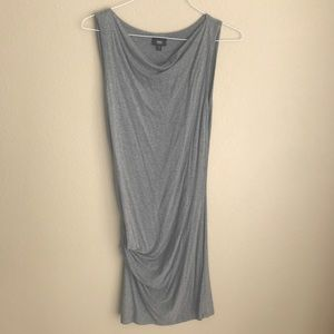 Gray Ruched-Side Midi Dress