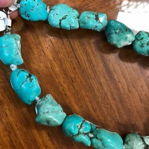Vintage Jewelry - Sterling Silver BIG Turquoise Necklace