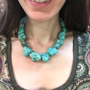 Sterling Silver BIG Turquoise Necklace