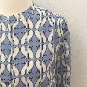 J. Crew Silk Siamese Cat Print Button Up Blouse!