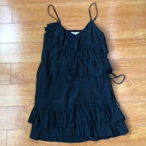 Black, ruffled swing dress