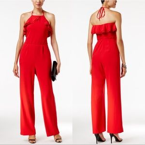 🔥Bold Red Wide Leg Halter Ruffle Jumpsuit