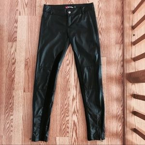 ZARA Faux Leather Trousers with Ankle Zip