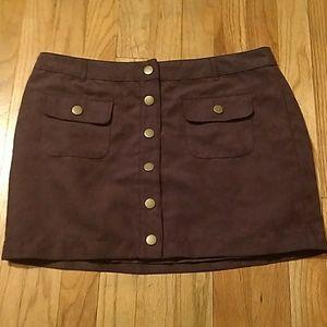 Mini Burgundy Button Up Skirt