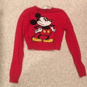 Red Mickey cropped sweater