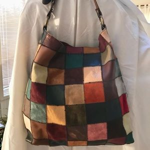 LUCKY BRAND LEATHER PATCHWORK TOTE