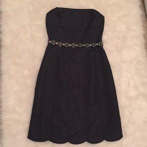 NEW Ann Taylor Black Silk Strapless Scallop Dress