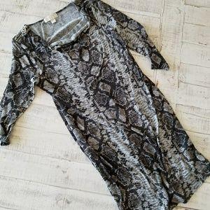 Michael Kors 3/4 Sleeve Draped Neck Snake Print
