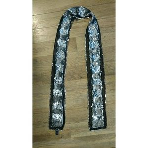 Sequin scarf with tulle trim