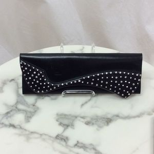 Pigalle Black Leather Crystal Clutch