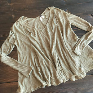 Free People Green Long Sleeve Loose Ribbed Knit
