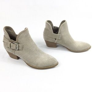 DOLCE VITA TAUPE SUEDE PERFORATED ANKLE BOOTS