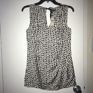 Ann Taylor black/white animal print shirt/blouse 4