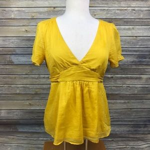 J. Crew Mustard Yellow V Neck Blouse Top Size 6