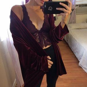 Vintage Red Velvet Cardigan Kimono
