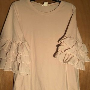 H&M light pink blouse size L