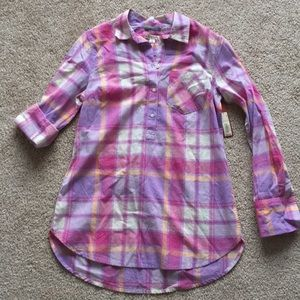 Pink purple plaid button up shirt small
