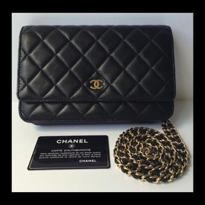 CHANEL WOC BLACK LAMBSKIN LEATHER WITH GOLD HW