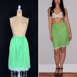 Vintage Neon Green Nylon Lace Trim Half Slip Skirt