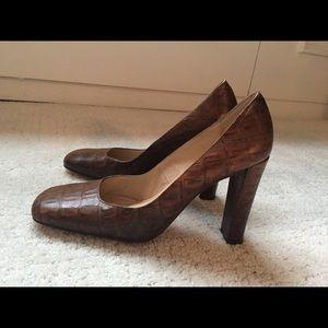Zara brown crocodile heels
